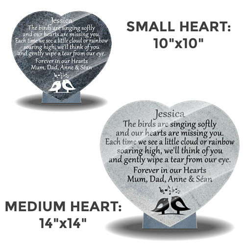 Memorial Plaques for loss of Daughter with headstone memorial poems
