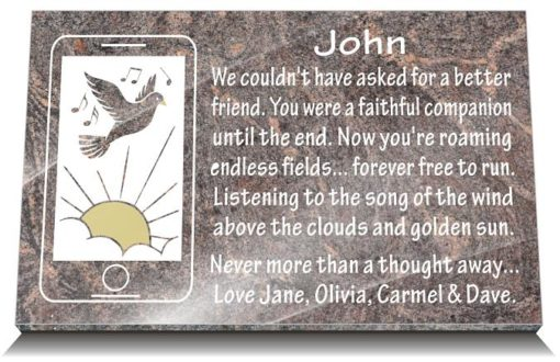 Smartphone grave plaque for friends and family members graves