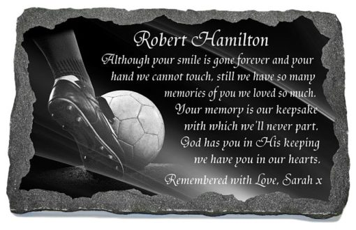 Football Memorial Plaques for Graves with Soccer Ball laser-engraved to granite