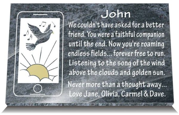 Best friend grave ornaments with iPhone gravestone image