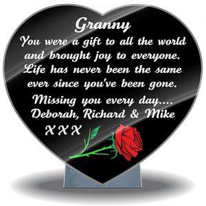 Grandma Memorial Verse with red rose on memorial plaque