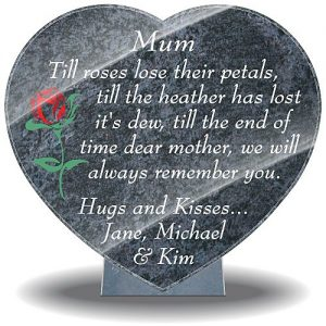Mother grave ornaments with rose and Mom grave quotes