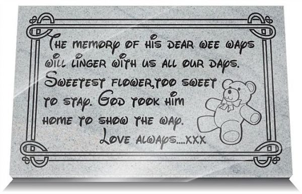 Grandchild grave memorial with memorial verse and teddy bear