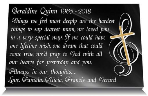 Mother loss memorial gift in Black Granite for graveside