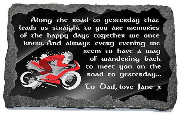 motorbike memorial plaque