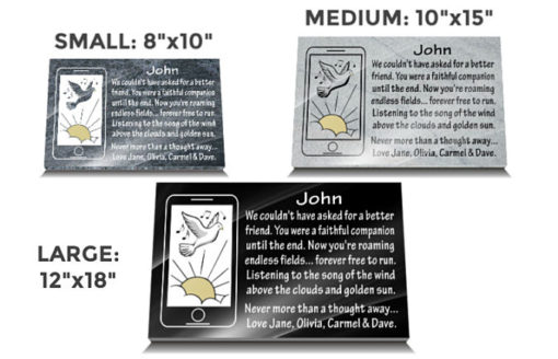 Smartphone grave plaques made from Granite with personalized inscriptions and iPhone headstone image