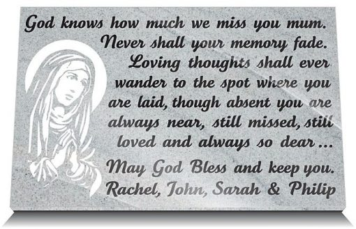 Personalized Catholic memorial plaques for mothers
