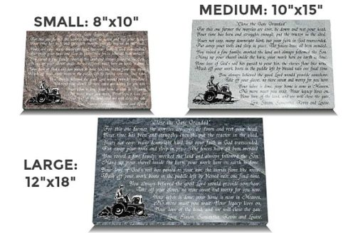 Personalized grave plaques for farmers made from granite