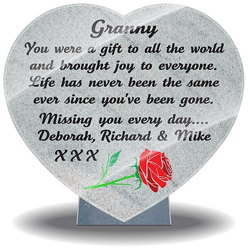Memorial for Grandmother made from Granite with red rose