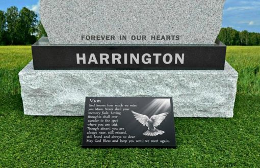 Dove decorations for graves and headstones with the Holy Spirit and personalized wording for Mother