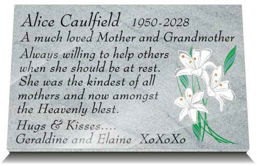 Granite Memorial plaques with lilies and mother memorial poem