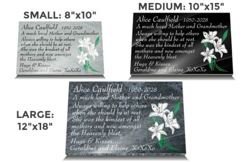 Loss of Mom grave Plaques with white flowers and funeral poem