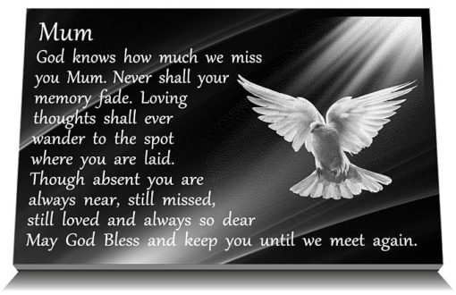 Dove Decorations for Graves with personalized memorial poem