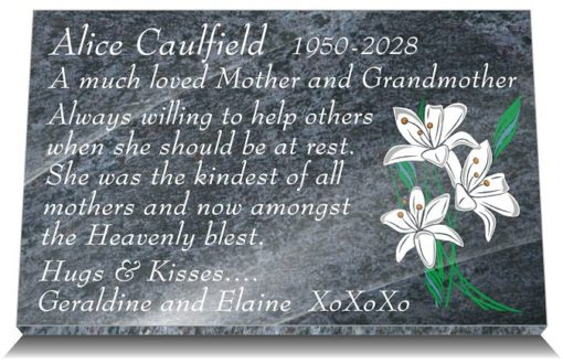 Lily Grave Ornaments with mother memorial poem engraved in stone