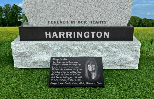 Outdoor memorial picture plaque with photograph laser engraved on black granite