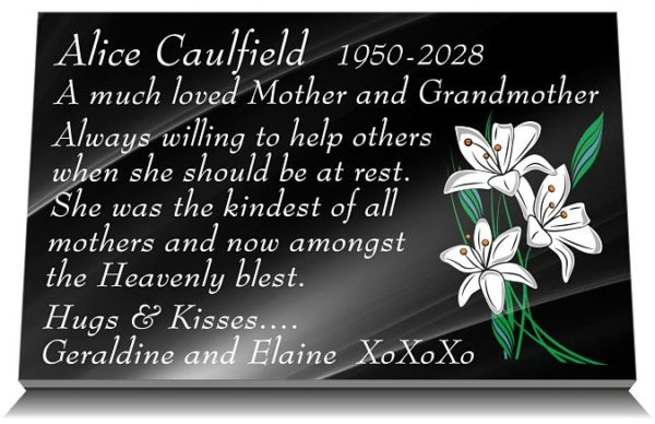 Loss of Mother Grave Plaque in Black Granite with lily flowers