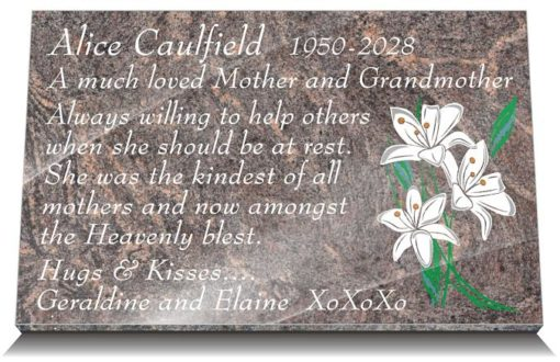 Mother Memorial Poem with flowers on granite grave plaques
