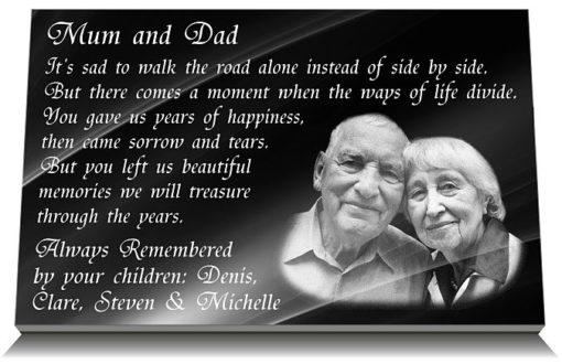 Memorial Plaque wording for Dad and Mum
