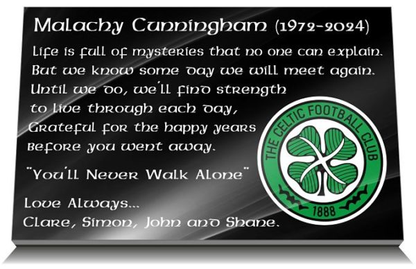 Glasgow Celtic Grave Marker with personalized Bhoys memorial verse