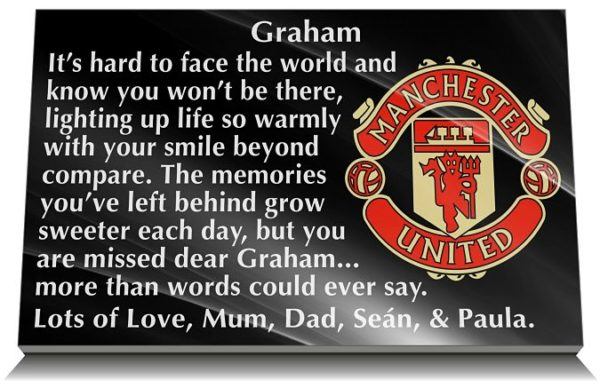 Manchester United Memorial Plaques with personalised wording