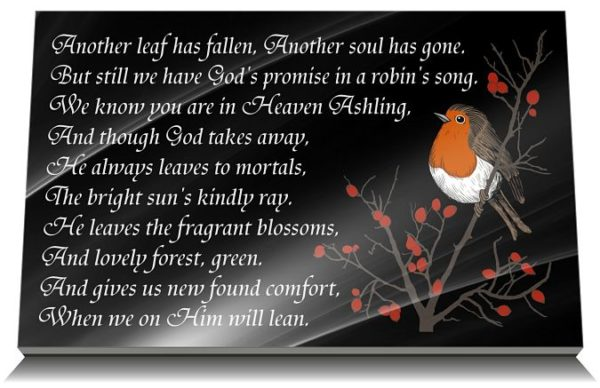 When a robin is near poem on memorial plaques for graves