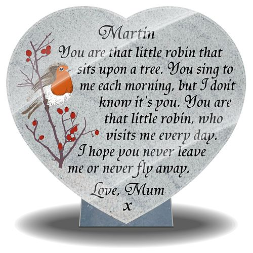 Robin Ornament for grave with when a robin is near poem