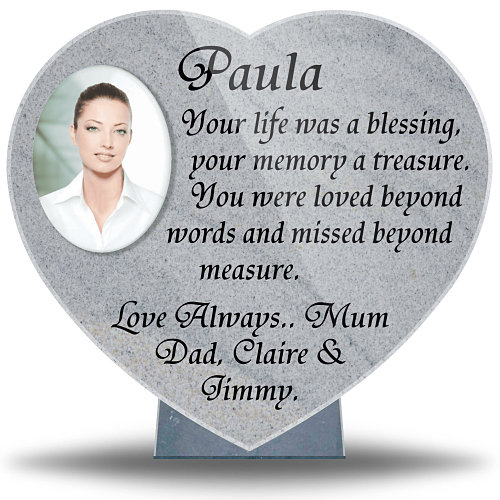 Memorial Heart Plaque with Photograph made from ceramic for outdoor use
