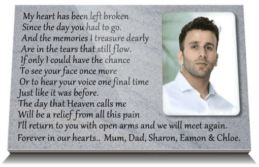 Ceramic Photo Plaques for Headstones with Brother Death Poems UK and Ireland