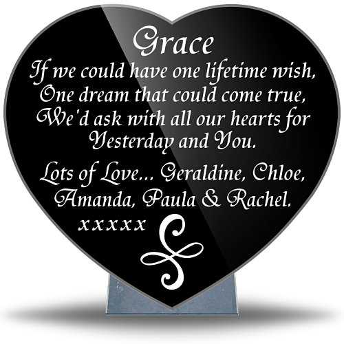 Granite heart-shaped memorials for death of best friend