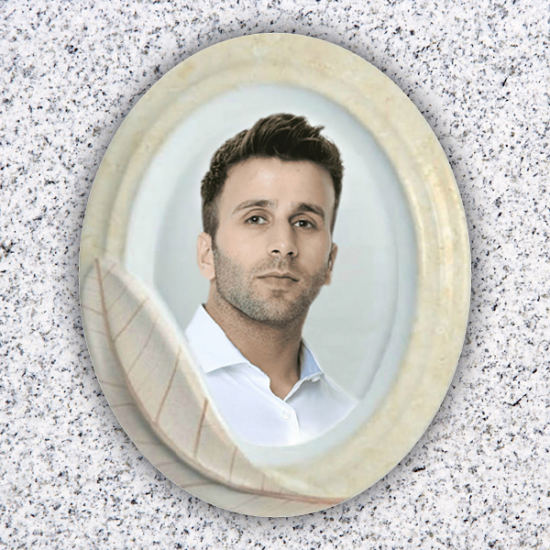 Oval Gravestone Portrait with leaf