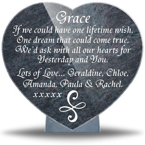 Friendship Memorial Heart plaque for a best friend's grave