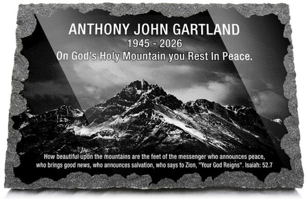 Mountain memorial plaques with Mount Zion Isaiah quotes