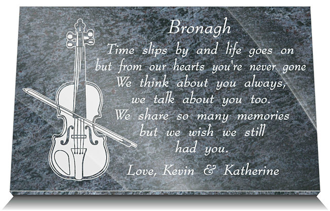 Memorial Plaques for Graves with Music Instrument - violin