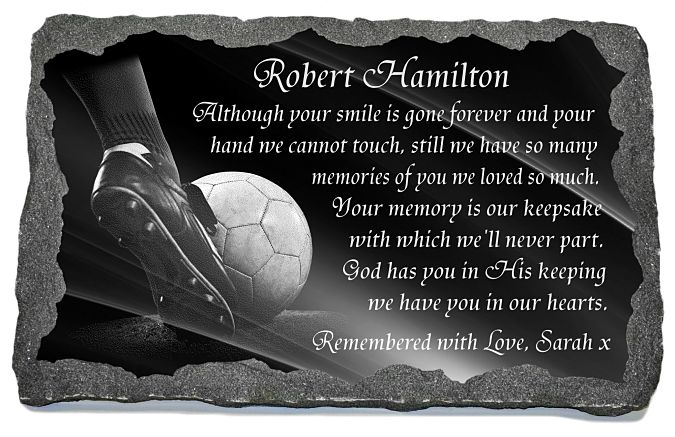 Grave Plaque wording examples for a footballer or soccer player