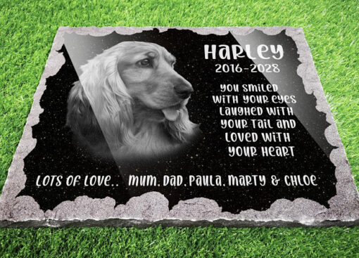 Personalised dog memorial plaque with photograph and dog memorial verse