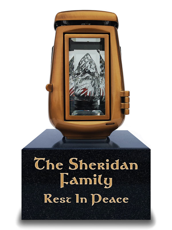 Sunlight energised grave lamps with personalised granite base for inscriptions