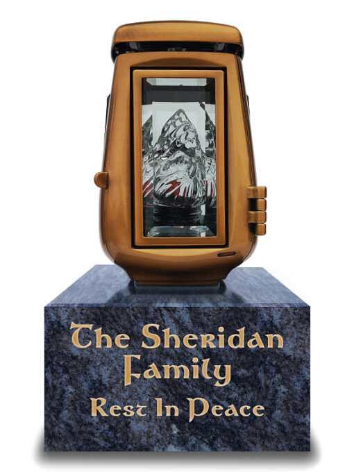 Personalised memorial solar lanterns with a bronze finish and granite base