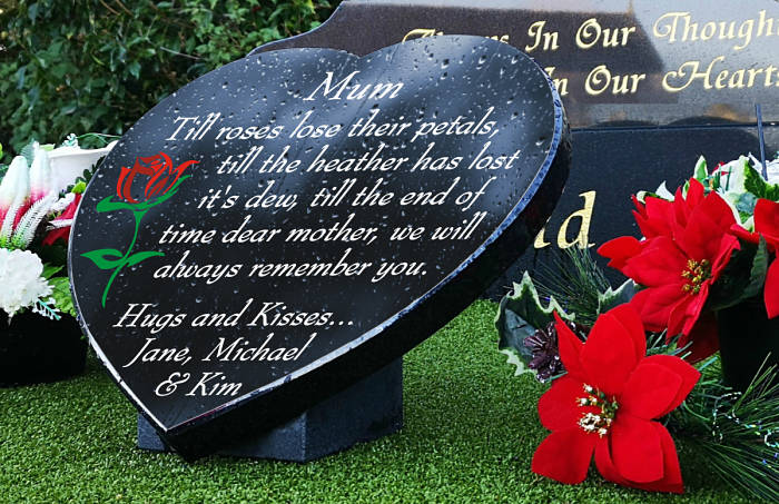 In Remembrance Poem for Mother on Heart-Shaped Grave Plaque with Rose