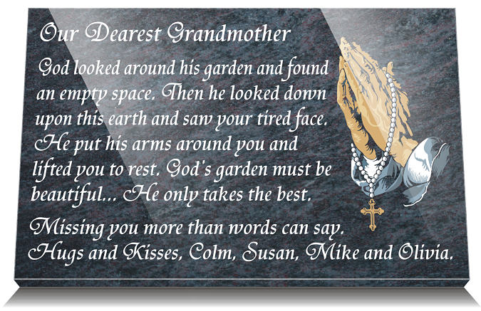 Commemoration quotes for a Grandmother with Praying hands on grave plaque