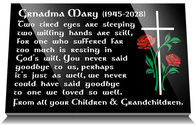 Short Bereavement Verses for Mother or Granny with cross and roses